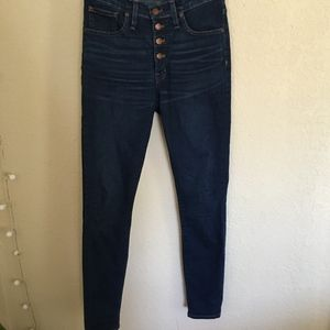 Madewell 9in high rise button fly skinny jeans 27